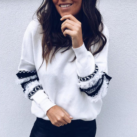 Fashion Printed Striped Long-Sleeved Sweater