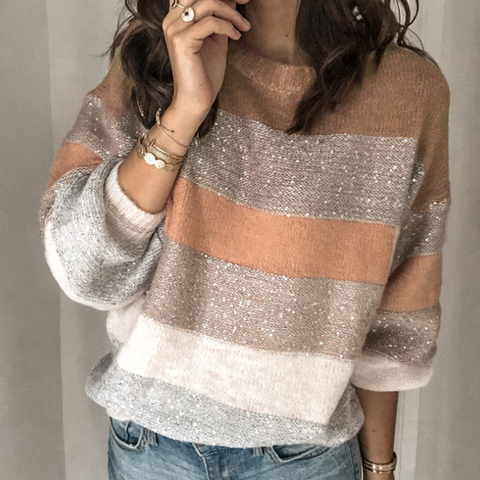 Loose Round Neck Long Sleeve Stitching Knit Sweater