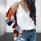 Solid Color Large Size Knit Stripes Long Sleeve Sweater