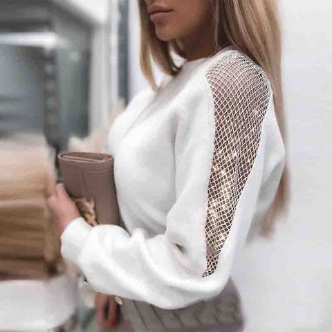 Casual Solid White Long-Sleeved Knitted Top