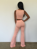 design Sleeveless Two-Piece Piece Pants