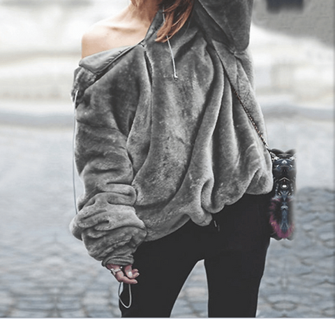 Fashion Solid Color Long-Sleeved Hooded Sweater
