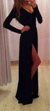 SEXY V-NECK BLACK LONG-SLEEVED DRESS