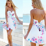 Pretty printing white high waist sleeveless dress