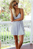 Sexy V-Neck Sling sleeveless Striped Halter Dress