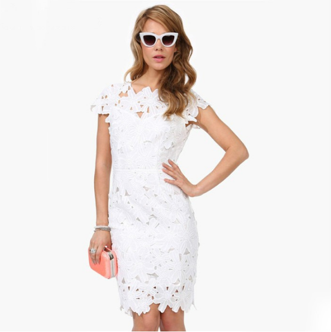 Sexy White stitching Lace Halter Dress