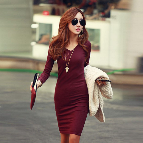 Sexy V-Neck Long Sleeve Knit Dress