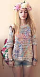 Loose Rainbow Long Sleeve Knit Sweater