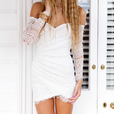 Sexy Lace Splice Long Sleeve Strapless Dress