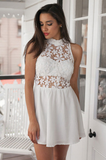 Design White Lace Sleeveless Dress