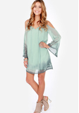 Fashion V-Neck Long Sleeve Printing Chiffon Dress