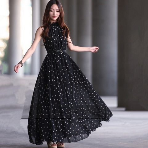 Fashion Dot Chiffon Sleeveless Vest Dress