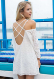 Fashion Lace Long Sleeve Halter Dress