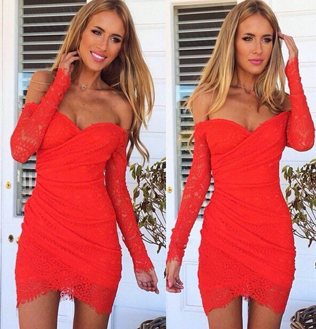 Slim Sexy V-Neck Long Sleeve Lace Dress
