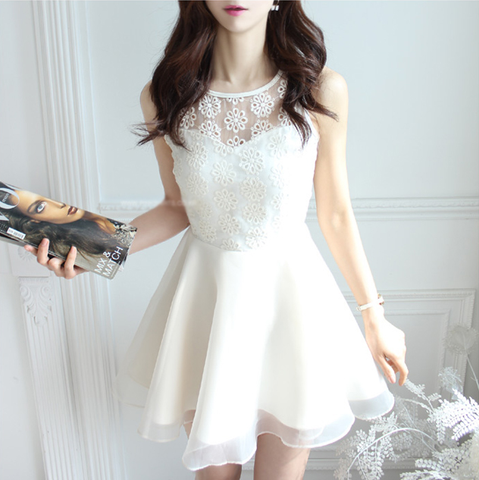 Slim embroidery Sleeveless Lace Dress