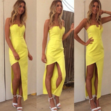 Fashion Chiffon Yellow Sleeveless Dress