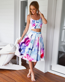 Fashion Sexy Sling Printed Sleeveless Two-Piece Dress