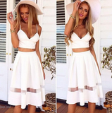 Stylish Sexy White Stitching Lace Two Dress