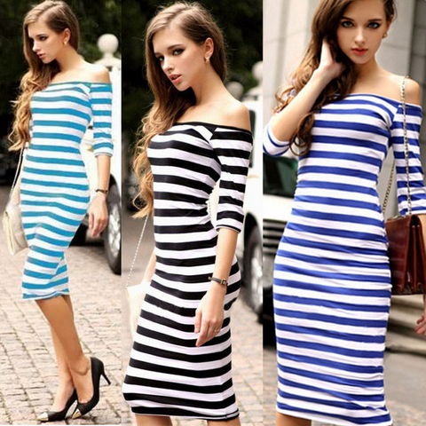 Fashion Sexy Striped Mini Dress