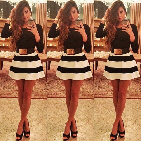Fashion Long Sleeve Striped Dress