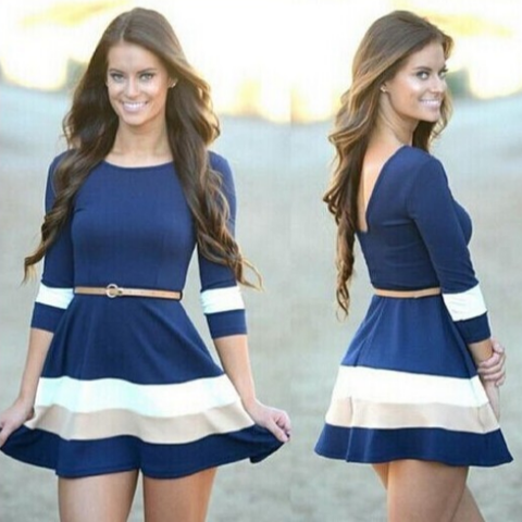 Sweet Round Neck Striped Dress