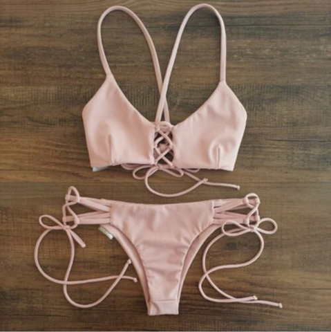SEXY BIKINI STRAPS SPLIT SWIMSUIT