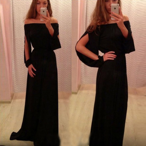 Irregular black long-sleeved dress