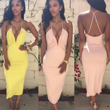 Slim V-Neck Sleeveless Halter Dress