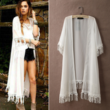 Fashion lace stitching chiffon shirt cardigan