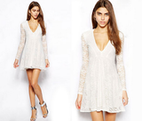 Sexy V-Neck Long-Sleeved Lace Mini Dress