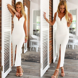 Sexy V-neck sleeveless package hip dress