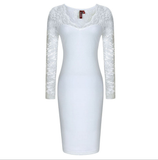 Big yards long sleeve lace stitching package hip dress