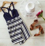 Design V-Neck Striped Halter Dress
