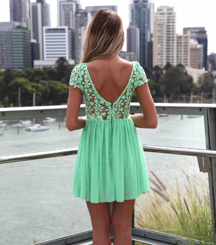 Mint Green Women Summer Bandage Bodycon Lace Evening Sexy Party Cocktail MINI Dress