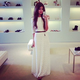 Design White Splice Lace Dress