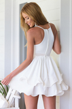 Sexy V-Neck Straps White Chiffon Dress
