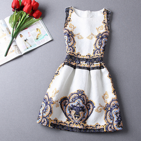 Sweet Jacquard Printed Sleeveless Dress