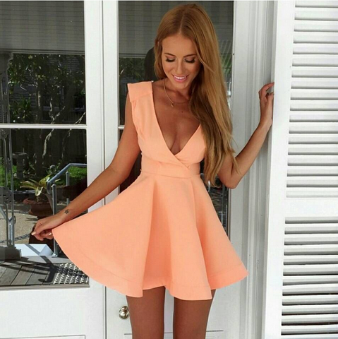 Sweet V-Neck Sleeveless Pink Dress