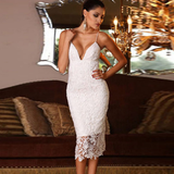 Design V-neck white lace sleeveless halter dress