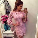 Sexy Pink Lace Mini Dress