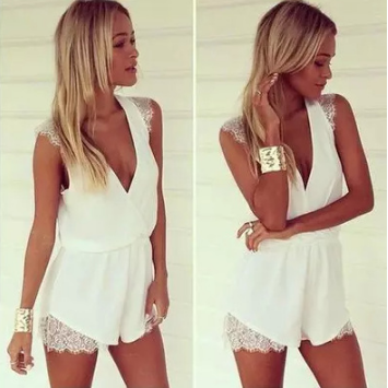 Design Deep V Neck Sexy White Lace And Chiffon One Piece Jumpsuit