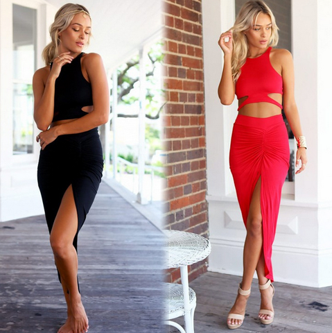 Sexy two-piece sleeveless dress