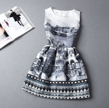 RETRO JACQUARD PRINTED SLEEVELESS VEST PRINCESS DRESS