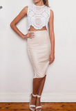 Round neck white lace zipper sleeveless shirt