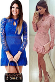 Slim Long-Sleeved Flouncing Dress