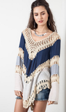 Loose knit long-sleeved sweater