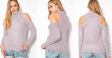 Loose high-necked long-sleeved knit sweater