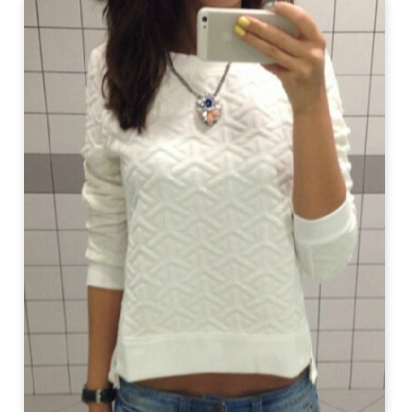 Slim Round Neck Long-Sleeved Sweater