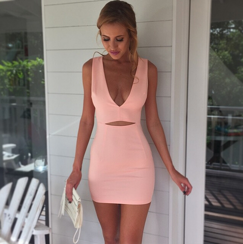 Slim V-Neck Sleeveless Pink Dress
