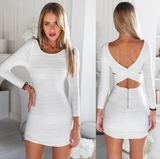 Sexy White Long-Sleeved Dress